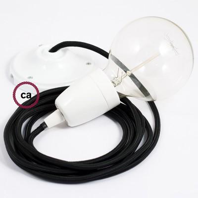 Candeeiro suspenso em Porcelana, lâmpada suspensa com cabo têxtil em Seda Artificial Preto RM04