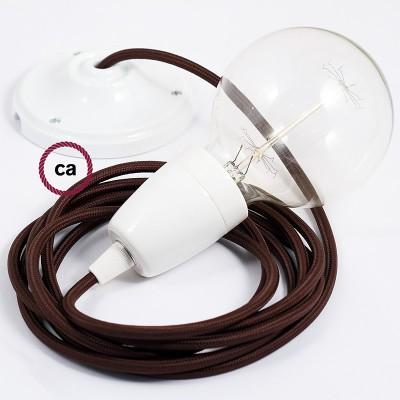 Candeeiro suspenso em Porcelana, lâmpada suspensa com cabo têxtil em Seda Artificial Castanho RM13