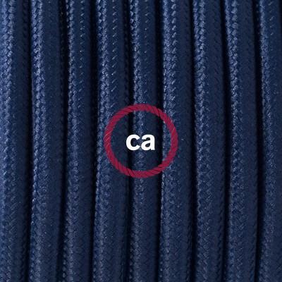 Candeeiro suspenso em Porcelana, lâmpada suspensa com cabo têxtil em Seda Artificial Azul Escuro RM20