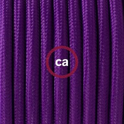 Candeeiro suspenso em Porcelana, lâmpada suspensa com cabo têxtil em Seda Artificial Violeta RM14