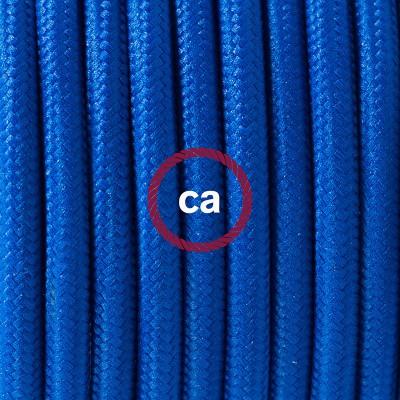 Candeeiro suspenso em Porcelana, lâmpada suspensa com cabo têxtil em Seda Artificial Azul RM12