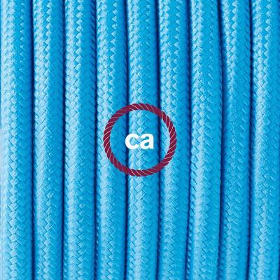 Candeeiro suspenso em Porcelana, lâmpada suspensa com cabo têxtil em Seda Artificial Turquesa RM11