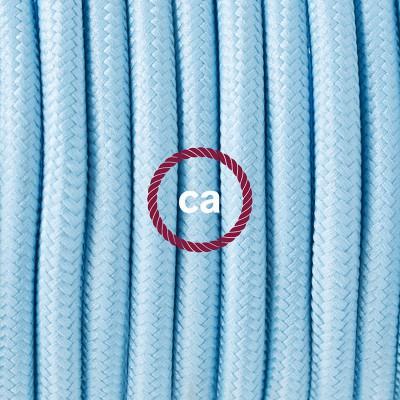Candeeiro suspenso em Porcelana, lâmpada suspensa com cabo têxtil em Seda Artificial Azul Bebé RM17