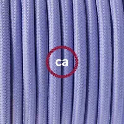 Candeeiro suspenso em Porcelana, lâmpada suspensa com cabo têxtil de Seda Artificial Lilás RM07