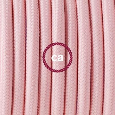 Candeeiro suspenso em Porcelana, lâmpada suspensa com cabo têxtil de Seda Artificial Rosa Bebé RM16