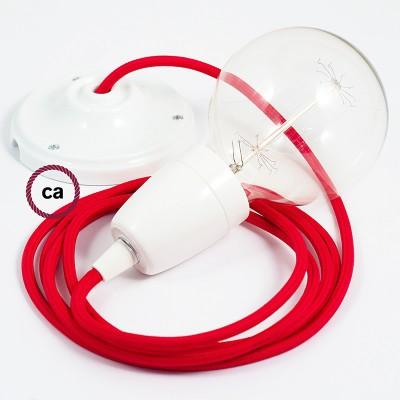 Candeeiro suspenso em Porcelana, lâmpada suspensa com cabo têxtil de Seda Artificial Vermelho RM09