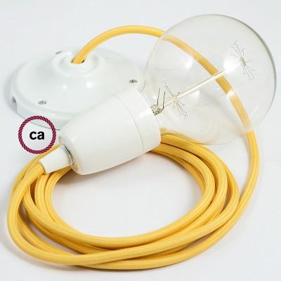 Candeeiro suspenso em Porcelana, lâmpada suspensa com cabo têxtil de Seda Artificial Amarelo RM10