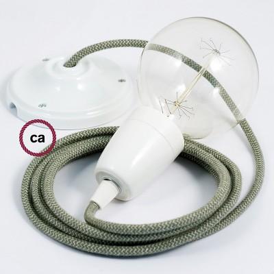 Candeeiro suspenso em Porcelana, lâmpada suspensa com cabo têxtil de ZigZag Verde Tomilho RD72