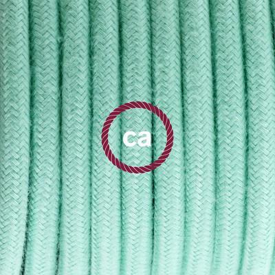 Candeeiro suspenso em Porcelana, lâmpada suspensa com cabo têxtil de Algodão Leite e Menta RC34