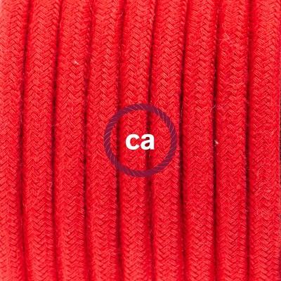 Candeeiro suspenso em Porcelana, lâmpada suspensa com cabo têxtil de Algodão Vermelho Fogo RC35
