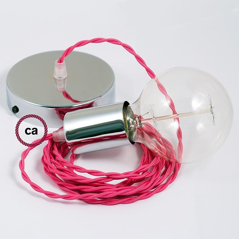 Candeeiro suspenso único, lâmpada suspensa com cabo têxtil de Seda Artificial Fuchsia TM08