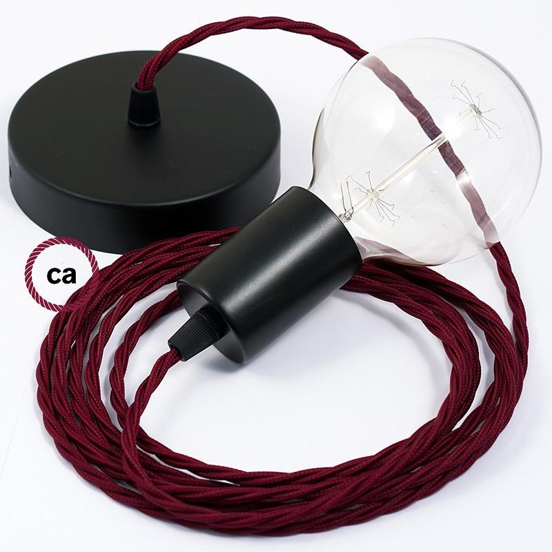 Candeeiro suspenso único, lâmpada suspensa com cabo têxtil de Seda Artificial Bordeaux TM19