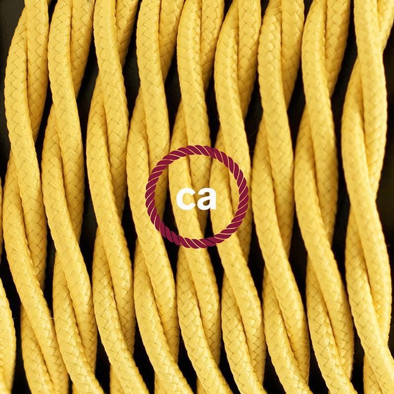 Candeeiro suspenso único, lâmpada suspensa com cabo têxtil de Seda Artificial Amarelo TM10