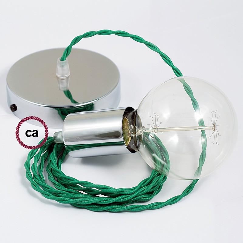 Candeeiro suspenso único, lâmpada suspensa com cabo têxtil de Seda Artificial Verde TM06