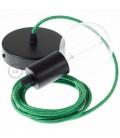 Candeeiro suspenso único, lâmpada suspensa com cabo têxtil Verde Brilhante RL06