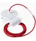 Candeeiro suspenso único, lâmpada suspensa com cabo têxtil Vermelho Brilhante RL09