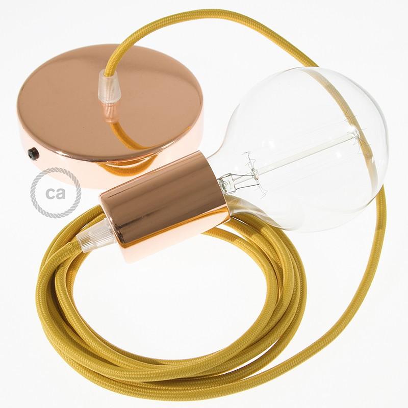 Candeeiro suspenso único, lâmpada suspensa com cabo têxtil de Seda Artificial Mostarda RM25