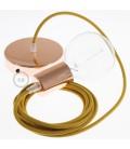 Candeeiro suspenso único, lâmpada suspensa com cabo têxtil de Algodão Mel Dourado RC31