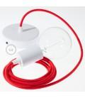 Candeeiro suspenso único, lâmpada suspensa com cabo têxtil de Algodão Vermelho Fogo RC35