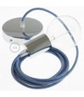 Candeeiro suspenso único, lâmpada suspensa com cabo têxtil ZigZag Azul Steward RD75