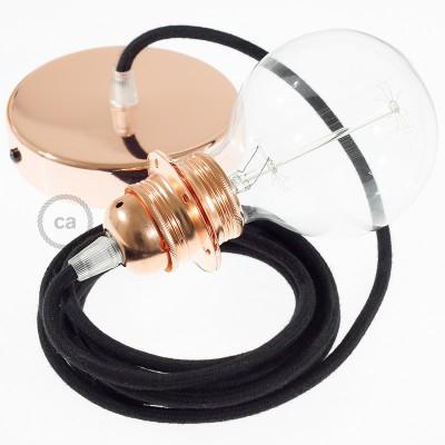Candeeiro suspenso para Abajur, lâmpada suspensa com cabo têxtil em Algodão Preto RC04