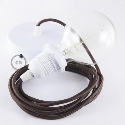 Candeeiro suspenso para Abajur, lâmpada suspensa com cabo têxtil em Seda Artificial Castanho RM13