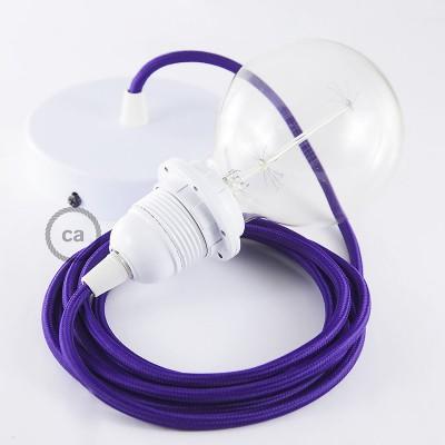 Candeeiro suspenso para Abajur, lâmpada suspensa com cabo têxtil em Seda Artificial Violeta RM14