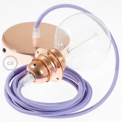 Candeeiro suspenso para Abajur, lâmpada suspensa com cabo têxtil de Seda Artificial Lilás RM07