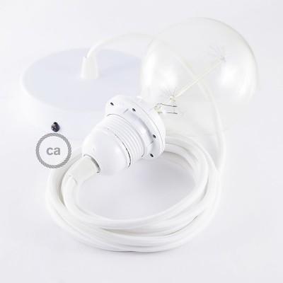 Candeeiro suspenso para Abajur, lâmpada suspensa com cabo têxtil de Seda Artificial Branco RM01