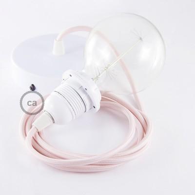 Candeeiro suspenso para Abajur, lâmpada suspensa com cabo têxtil de Seda Artificial Rosa Bebé RM16