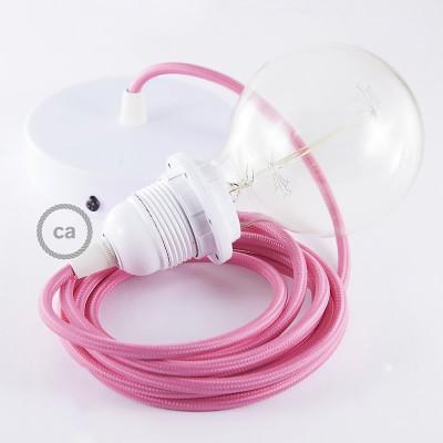 Candeeiro suspenso para Abajur, lâmpada suspensa com cabo têxtil de Seda Artificial Fuchsia RM08