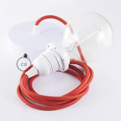 Candeeiro suspenso para Abajur, lâmpada suspensa com cabo têxtil de Seda Artificial Vermelho RM09