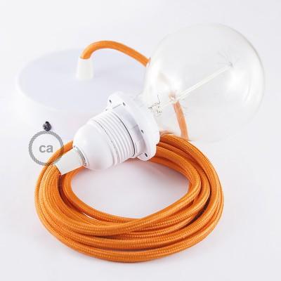 Candeeiro suspenso para Abajur, lâmpada suspensa com cabo têxtil de Seda Artificial Laranja RM15