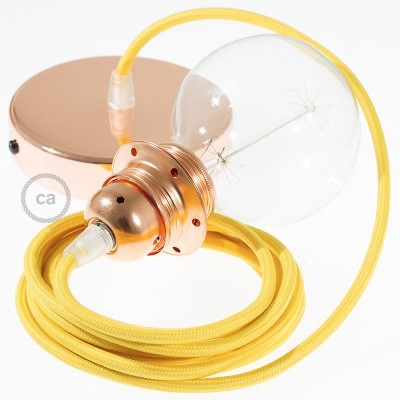Candeeiro suspenso para Abajur, lâmpada suspensa com cabo têxtil de Seda Artificial Amarelo RM10