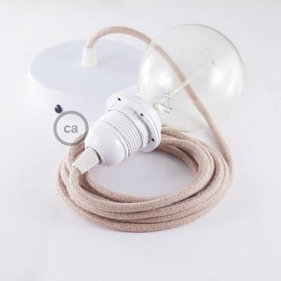 Candeeiro suspenso para Abajur, lâmpada suspensa com cabo têxtil de ZigZag Rosa Velho RD71