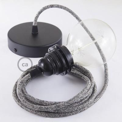 Candeeiro suspenso para Abajur, lâmpada suspensa com cabo têxtil de Linho Natural Preto Brilhante RS81