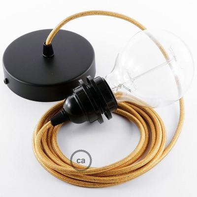 Candeeiro suspenso para Abajur, lâmpada suspensa com cabo têxtil Dourado Brilhante RL05