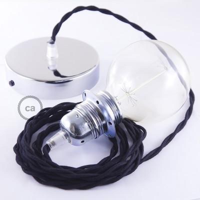 Candeeiro suspenso para Abajur, lâmpada suspensa com cabo têxtil Algodão Preto TC04