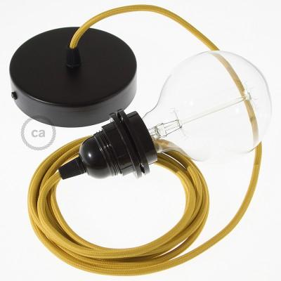Candeeiro suspenso para Abajur, lâmpada suspensa com cabo têxtil de Seda Artificial Mostarda RM25