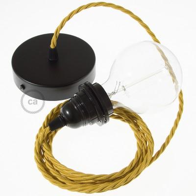 Candeeiro suspenso para Abajur, lâmpada suspensa com cabo têxtil de Seda Artificial Mostarda TM25