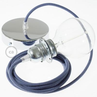 Candeeiro suspenso para Abajur, lâmpada suspensa com cabo têxtil de Algodão Pedra Cinzenta RC30