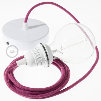 Candeeiro suspenso para Abajur, lâmpada suspensa com cabo têxtil de Algodão Bordeaux RC32