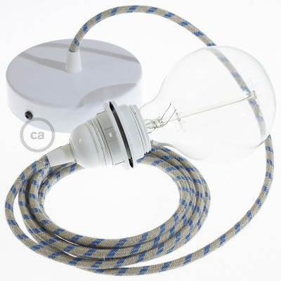 Candeeiro suspenso para Abajur, lâmpada suspensa com cabo têxtil às riscas Azul Steward RD55