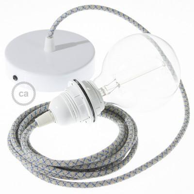 Candeeiro suspenso para Abajur, lâmpada suspensa com cabo têxtil Lozango Azul Steward RD65