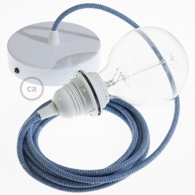 Candeeiro suspenso para Abajur, lâmpada suspensa com cabo têxtil ZigZag Azul Steward RD75