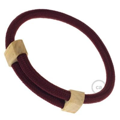 Creative-Pulseira em seda artificial cor sólida RM19 Bordeaux. Fixação de madeira deslizante. Fabricado em Itália.