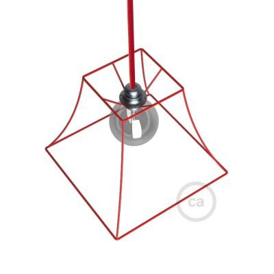 Gaiola desnuda abajur Pirâmide vermelho em metal de casquilho E27