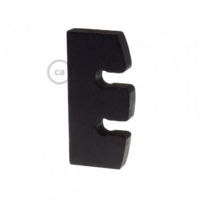 Regulador de Altura para Suspensão de Lâmpada em madeira pintado de preto. Fabricado em Itália.