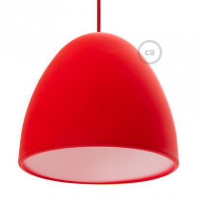Abajur de silicone de cor vermelha fornecido com difusor e braçadeira. Diâmetro 25cm.