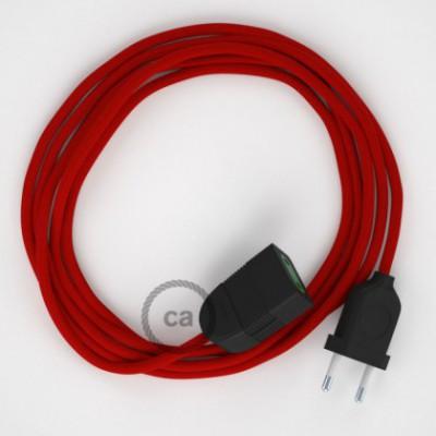 Cabo extensão em Seda Artificial Vermelho RM09 2P 10A. Fabricado em Itália.
